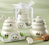 significado a la abeja tarro de miel de cerámica con balancín de madera