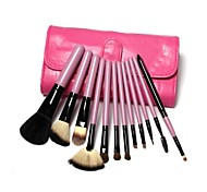 12PCS Professional Goat Hair Pink Handle Brush Set with Pink Case Cute Color