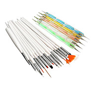 20PCS Nail Art Costumes (15PCS Art Peinture Nail Brush Kits 5PCS 2-Way Nail Art Dotting Kit outils)