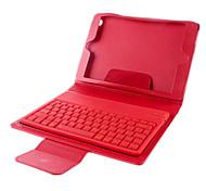 V3.0 wireless Bluetooth 77 - Tastiera chiave del silicone w / PU Custodia in pelle per iPad Mini - Red