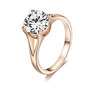 Exquis anneau nuptiale 18K plaqué or rose 4 Prong Effacer simulé anneau de mariage de diamant