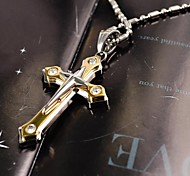 Fashion Double-layer Cross CZ Rhinestone Titanium Steel Pendant Necklace