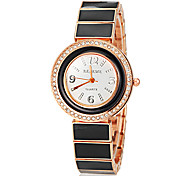 Women's Rose Gold Diamante Round Dial Ceramic Band Quartz Analog Fashion Watch (Assorted Color)