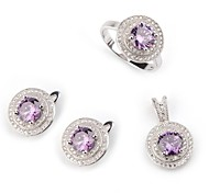 Fashion 925 Silver Plated Copper Zircon Earring Ring and Pendants Set