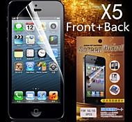 Protectora delantera HD + Back Protector de pantalla para iPhone 5/5S (5PCS)