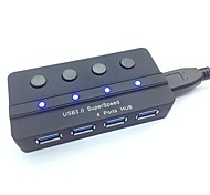 Superspeed USB Portable 3.0 4-Port Hub con interruptor independiente