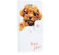 Leather Case peluche perro de cuerpo completo con ranura para tarjeta y rápida magnética para el iPhone 4/4S