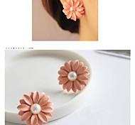 Daisy Flower Pearl Stud Earrings