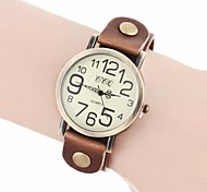 Women's Vintage Number Dial PU Band Quartz Analog Wrist Watch (Assorted Colors)