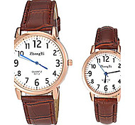 Couple's Simple Design PU Band Quartz Wrist Watch (Assorted Colors)