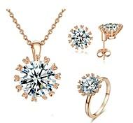 18 quilates de oro rosa plateó Sparkling Top Cubic Zirconia Diamante simulado colgante pendientes del collar del anillo