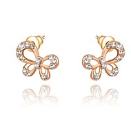Gorgeous Fashion Jewelry Gold plated with Rhinestone Stud Earrings(one pair)