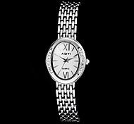 Damen Diamant runden Zifferblatt Steel Band Quarz-Armbanduhr (verschiedene Farben)