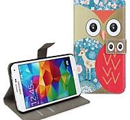 Belle Owl & Fleur Porte-monnaie en cuir avec des cas de stand de couverture de corps pour Samsung Galaxy I9600 S5