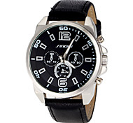 Men's Racing Style Black Leather Band Quartz Wrist Watch (Assorted Colors)