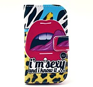 Sexy Tongue Pattern PU Leather Case with Card Slot and Stand for Samsung Galaxy S3 mini I8190