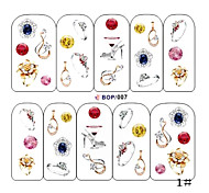 1PCS Water Transfer Printing Nail Stickers NO.1(Assorted Colors)