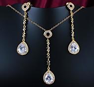 presente do dia da mãe de ouro banhado a jóia com colar e brinco