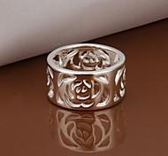 Argent plaqué laiton de femmes de fleur de mode anneaux de bande (1 PC)