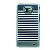 Black White Stripes  Leather Vein Pattern Hard Case for Samsung Galaxy S2 I9100