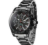 Men's Racing Style Dress Watch Black Alloy Quartz Wrist Watch Cool Watch Unique Watch
