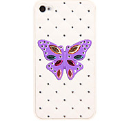 Bling Grid Back Butterfly Pattern Plastic Hard Back Case Cover for iphone 4G/4S