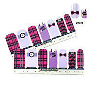 4x7PCS Plaid Chemise de bande dessinée Nail Art Stickers