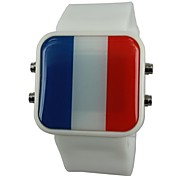 Unisex LED France Flag Style Silicone Band Wrist Watch(Assorted Colors) Cool Watch Unique Watch