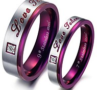 Purple Classic Fashion Titanium Steel Set Auger Lovers Ring Promis rings for couples