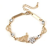 Lover's Hollow Swing LOVE with Diamond Pattern Metallic Bracelet 1pcs