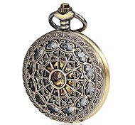 Men's Mechanical Hollow Cover Bronze Alloy Pocket Watch