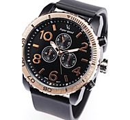 Men's Quartz Sub-Dial Decoration Black Rubber Band Analog Wrist Watch