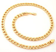 U7® Men's 18K Chunky Gold Filled Necklace High Quality Gold Plated Figaro Chains for Men 7MM 55CM 22inches