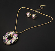 Vintage Circular Multicolor Irregular Geometry Pattern  Gold Plated (Necklaces&Earrings) Jewelry Sets