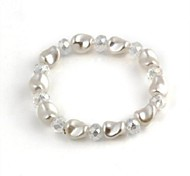Women's Flat Bead with Diamond Flexible Bracelet 1pc