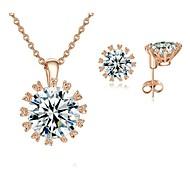 18 quilates de oro rosa plateó Sparkling Top Cubic Zirconia Diamante simulado colgante pendientes del collar