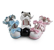 Handmade Antaina Little Girl PU Leather 5cm High Heel Sweet Lolita Shoes