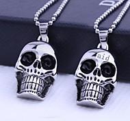 Персональный подарок Череп Формы ювелирные изделия нержавеющей стали с гравировкой ожерелье с 60см цепи