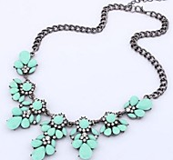 Women's Statement Necklaces Crystal Rhinestone Alloy Fashion Yellow Rose Light Blue Rainbow Light Green Jewelry Wedding Party Daily Casual