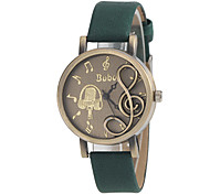 Women's Musical Note Shape Round Dial PU Band Quartz Analog Fashion Watch (Assorted Color)