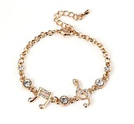 Lover's Hollow Musical Symbols with Diamond Pattern Metallic Bracelet 1pcs