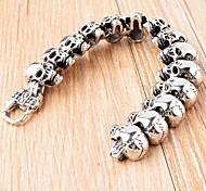 Vintage Men's Silver 316L Stainless Steel Skull Strand Bracelet