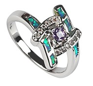 Fashion 925 Silver Plated Copper Zircon Opal Ring