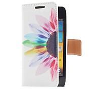 Funda de cuero estilo de la flor de Sun con ranura para tarjetas y soporte para el I9070 Samsung Galaxy S Advance