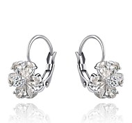 Gorgeous Fashion Jewelry Silver plated with Zircon Clip Earrings(one pair)