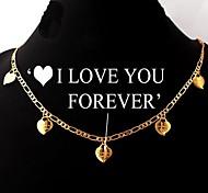 cadena figaro u7® oro verdadero 18k llenaron los encantos del corazón collar de regalo romántico para mujeres