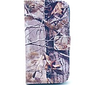 Grey Camo Tree Pattern PU Leather Stand Case with Card Slot for Samsung Galaxy S4 I9500