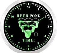 nc0915 Beer Pong Drinking Bar Beer Game Neon Sign LED Wall Clock