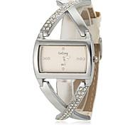 Women's Fashion Cross Style White PU Band Quartz Wrist Watch