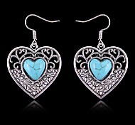 (1 Pair)Vintage (Turquoise Heart) Silver Alloy Drop Earrings